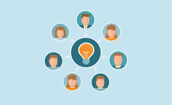Vector crowdsourcing concept in flat style - abstract group of people participating in generating new ideas and solutions