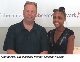 Andrea Kelly (A Space For Me) with business mentor, Charles Walters