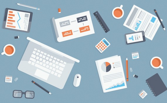 Flat design modern vector illustration concept of teamwork analyzing project on business meeting. Top view of desk background with laptop mobile and digital devices office objects and staff papers and documents.