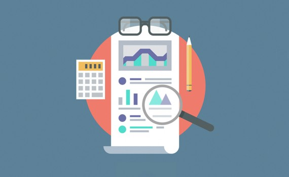 Flat design vector illustration concept of poster on analytics research information and website data statistics. Isolated on stylish color background.
