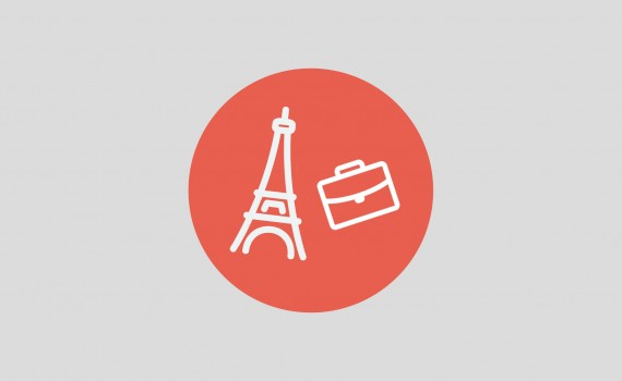 Paris tower thin line icon for web and mobile minimalistic flat design. Vector white icon inside the red circle.