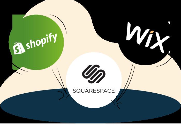 Shopify vs Wix vs Squarespace  section