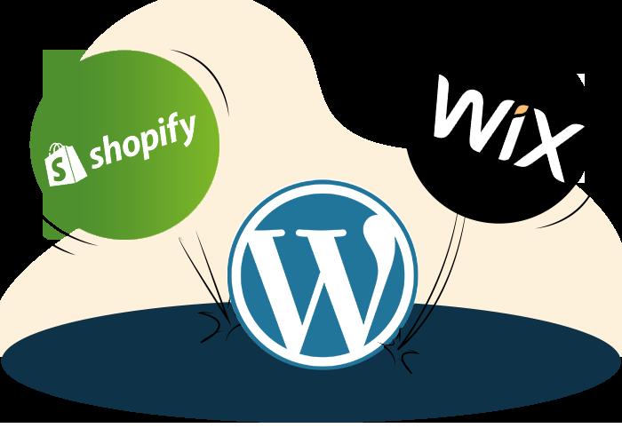 Shopify vs Wix vs WordPress  section