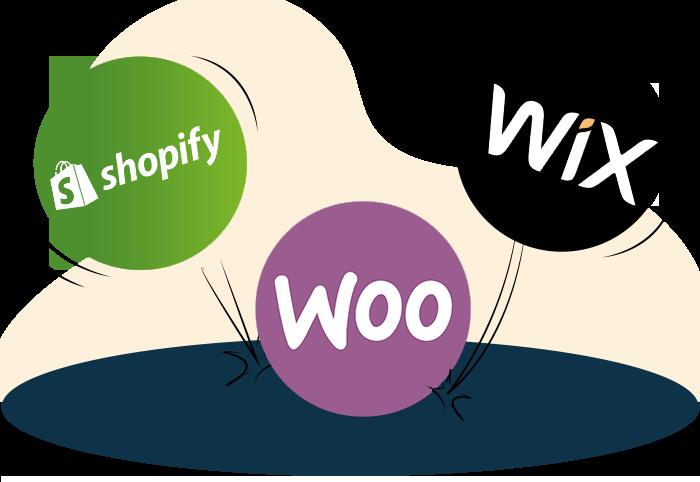 Shopify vs Wix vs WooCommerce section