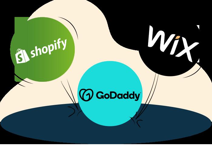 Shopify vs Wix vs GoDaddy section