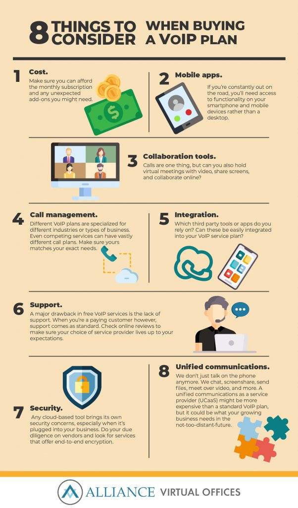 Here are 8 things to consider when buying a VoIP plan infographic