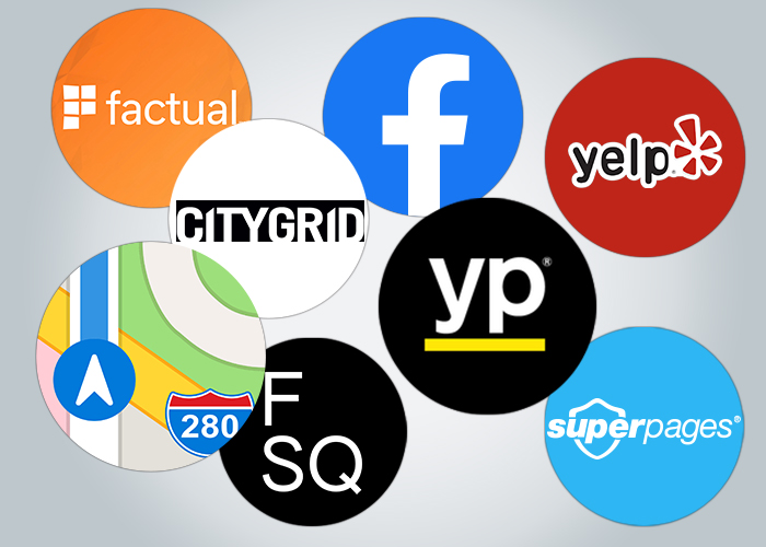 NAP Citation Logos - Apple Maps, CityGrid, Facebook, Factual, FourSquare, Superpages, Yelp, YellowPages Apple Maps CityGrid Facebook Factual FourSquare Superpages Yelp YellowPages