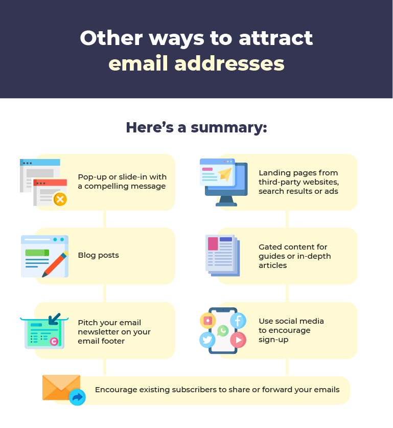 other ways to attract email addresses infographic