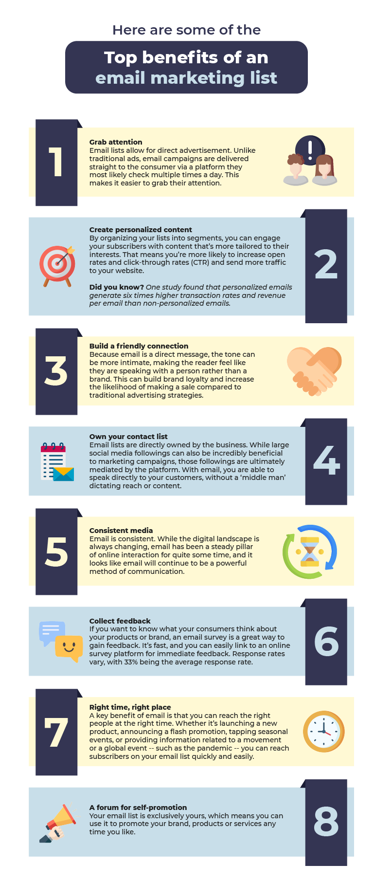 top benefits of an email marketing list infographic